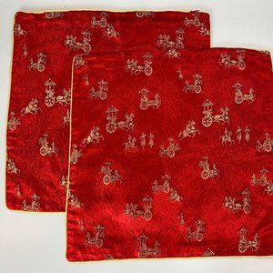 Zippered Asian Red Cushion Covers